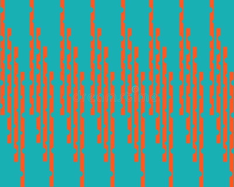 Linee arancio verticali simmetriche su un fondo verde illustrazione di stock