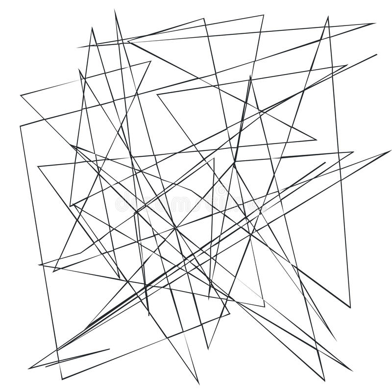 Linee casuali, irregolari, irritabili caotiche Fondo geometrico astratto con le curve rotte per creare le strutture illustrazione di stock