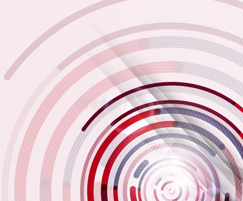 Linee circolari, cerchi, fondo astratto geometrico illustrazione vettoriale