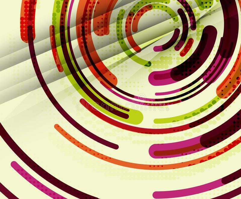Linee circolari, cerchi, fondo astratto geometrico illustrazione di stock
