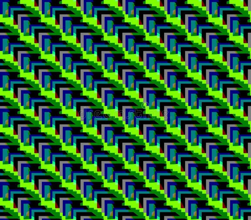 Linee del fondo verde senza cuciture astratto ed e triangoli neri grigi e blu royalty illustrazione gratis