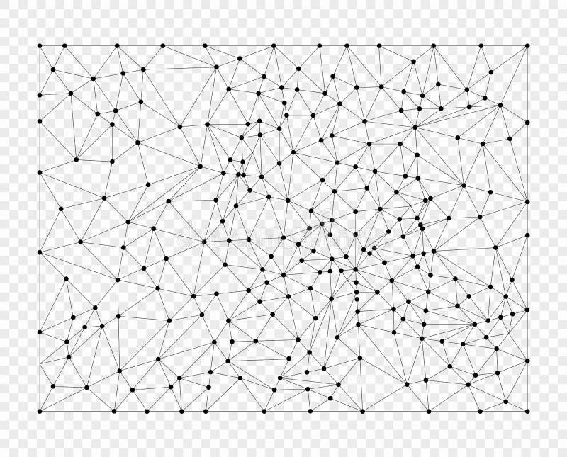 Linee del poligono con i punti, griglia Elemento della sovrapposizione Oggetto di vettore isolato su un fondo leggero illustrazione vettoriale