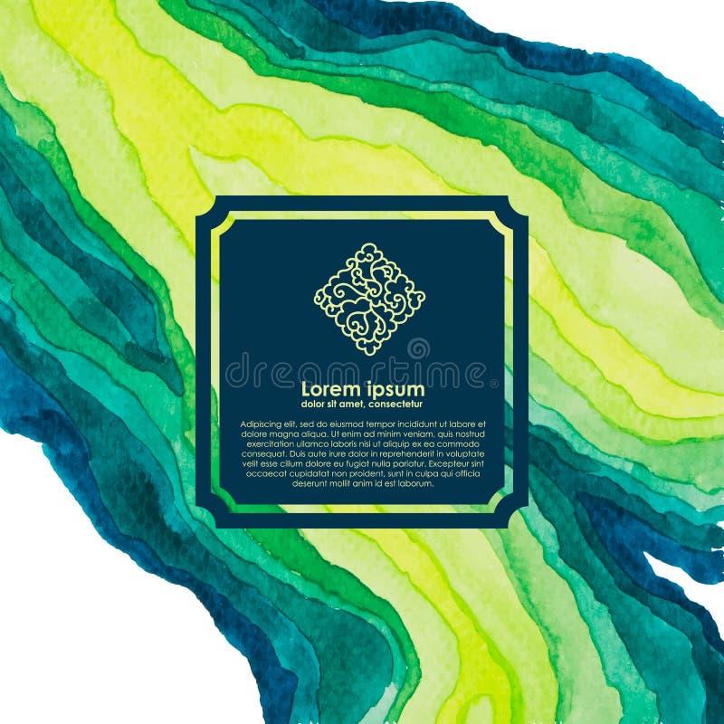 Linee dell'acquerello nelle tonalità verdi e blu Dipinga il modello variopinto royalty illustrazione gratis