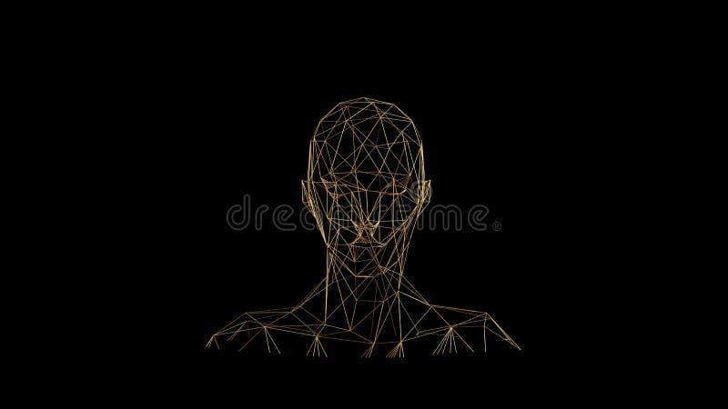Linee dell'oro su fondo nero Testa astratta del viso umano Progettazione di lusso poligonale dorata di scintillio di lustro della illustrazione vettoriale