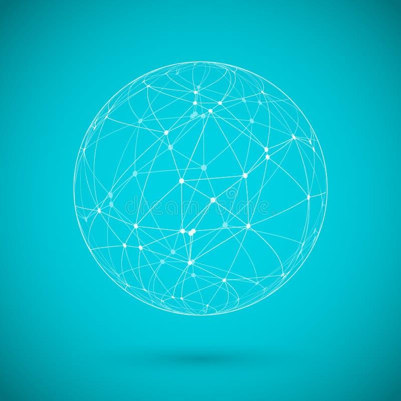 Linee della rete globale con Dots Connection Vector Background illustrazione di stock