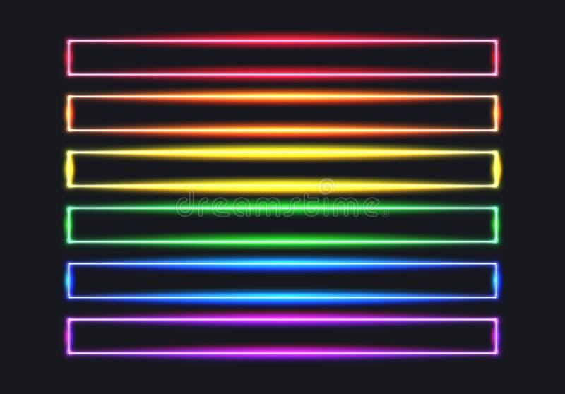 Linee di bandiera al neon dell'arcobaleno per il mese di orgoglio illustrazione di stock