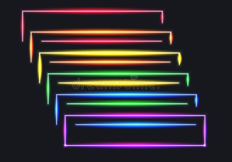 Linee di bandiera al neon dell'arcobaleno per il mese di orgoglio royalty illustrazione gratis