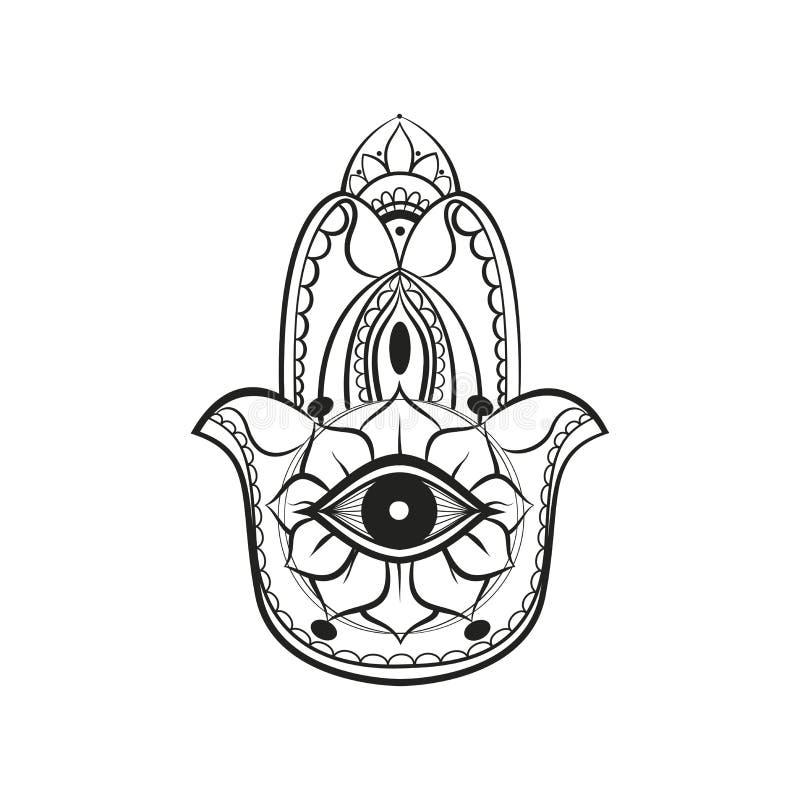 Linee di colore nere Fatima Hand Hamsa illustrazione di stock