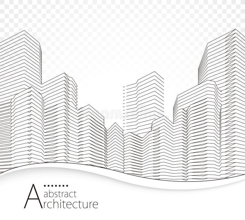 Linee di costruzione astratte di prospettiva illustrazione di stock