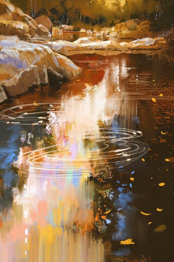 Linee di fiume con le pietre nella foresta di autunno fotografie stock libere da diritti