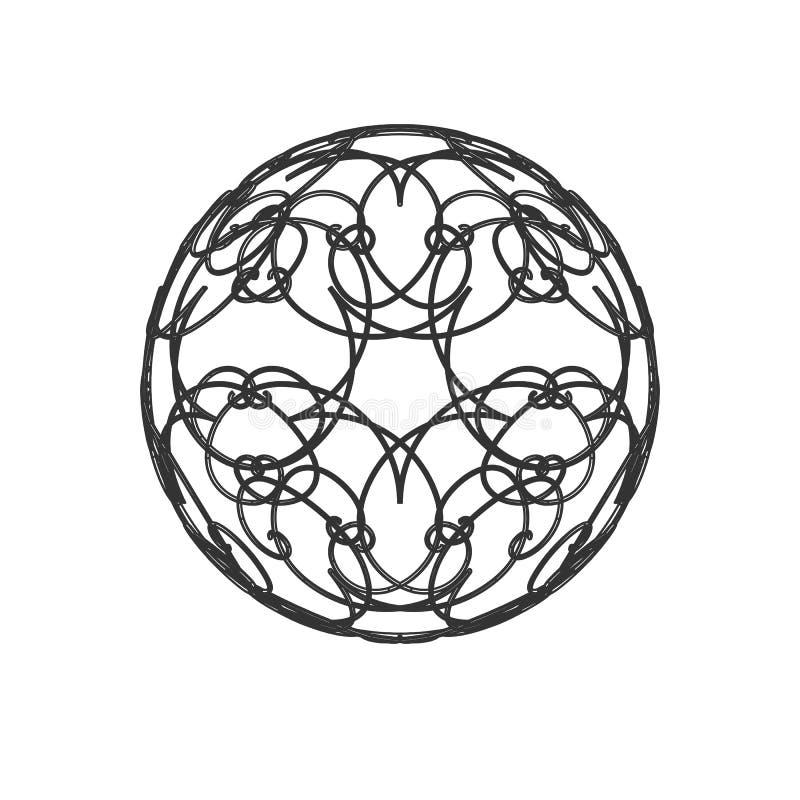 Linee di griglia del cerchio 3 d della palla della sfera linea di griglia decorata dell'estratto 3d del gioco del manufatto dell' royalty illustrazione gratis