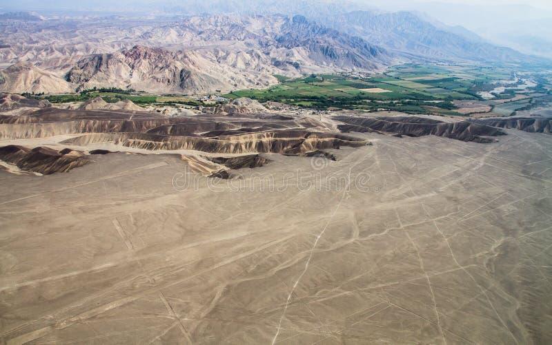 Linee di Nazca, vista aerea, Perù fotografie stock libere da diritti