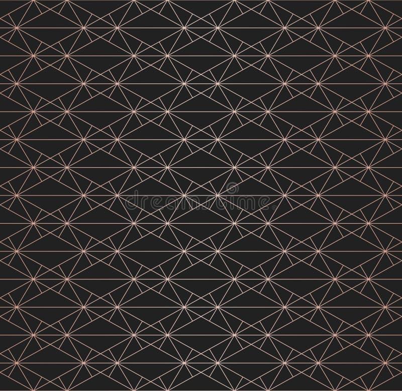 Linee di rame modello Struttura senza cuciture lineare geometrica di vettore Progettazione di lusso illustrazione vettoriale