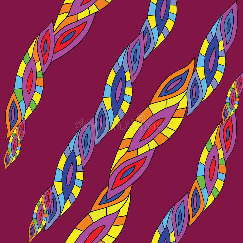 Linee di struttura di astrazione, modello senza cuciture, su fondo rosso, stile, variopinto illustrazione vettoriale