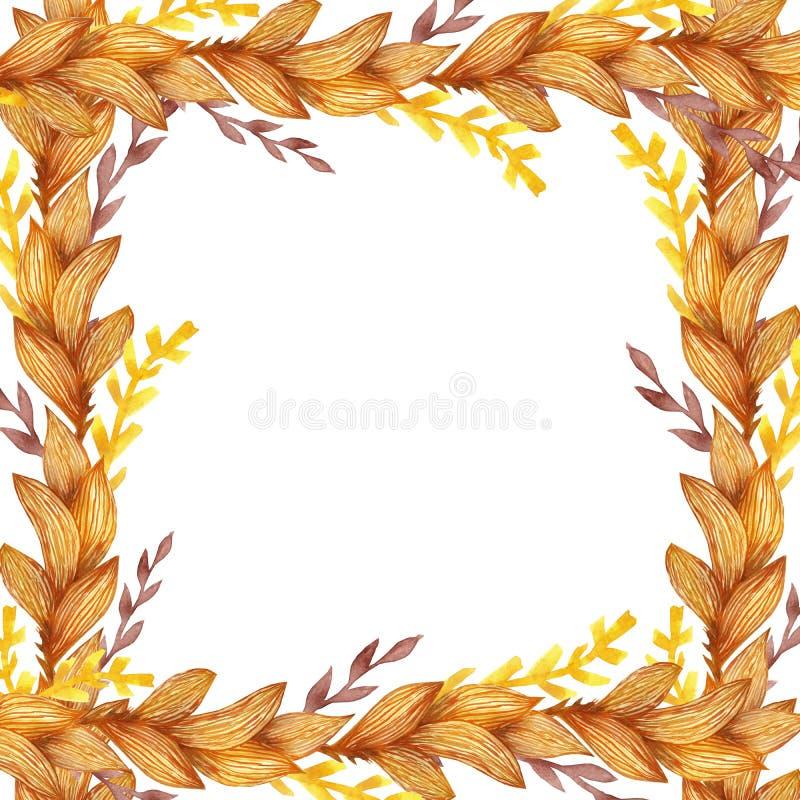 Linee dipinte a mano struttura dell'acquerello due con le foglie di autunno arancio ed i rami rossi e gialli per gli inviti e le  royalty illustrazione gratis