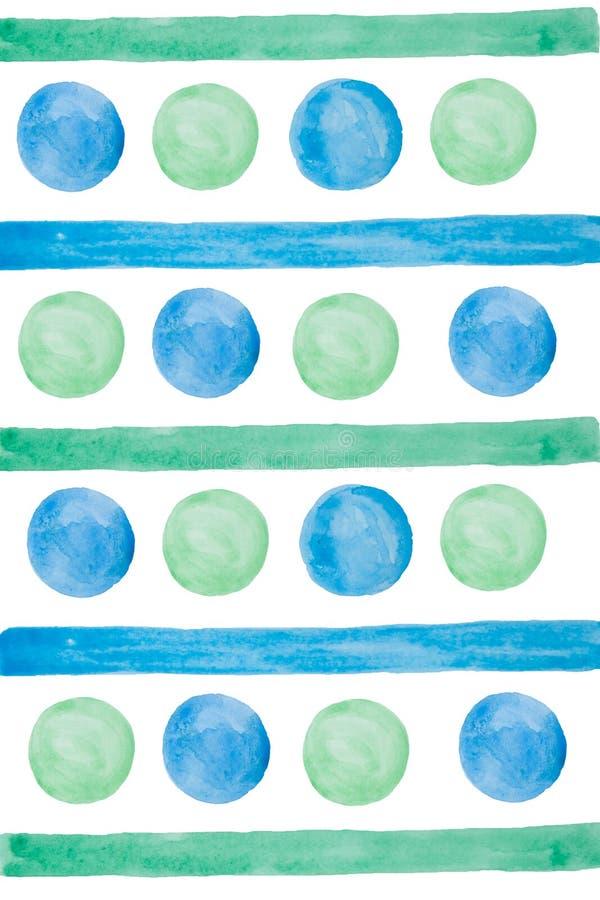 Linee e cerchi astratti disegnati a mano dell'acquerello elementi blu e verdi Isolato royalty illustrazione gratis