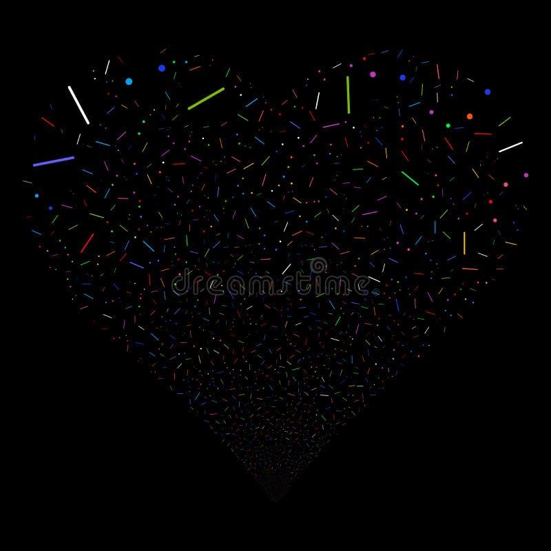 Linee e Dots Fireworks Heart royalty illustrazione gratis