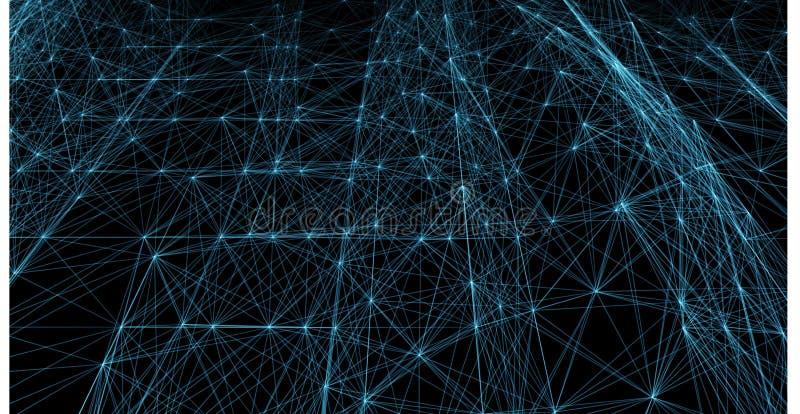 Linee e griglia futuristiche blu astratte dei punti Web intrecciante, una rete delle corde, un vettore nero geometrico insolito illustrazione vettoriale
