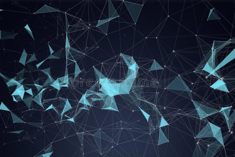 Linee e sfere blu del triangolo della connessione di rete e di dati digitali nel concetto futuristico di tecnologia su fondo nero royalty illustrazione gratis