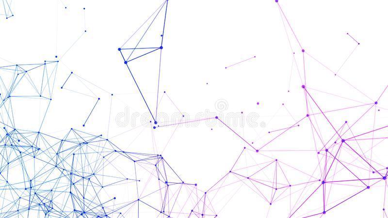 Linee e sfere blu di dati dell'elaboratore digitale e del triangolo della connessione di rete nel concetto futuristico di tecnolo royalty illustrazione gratis