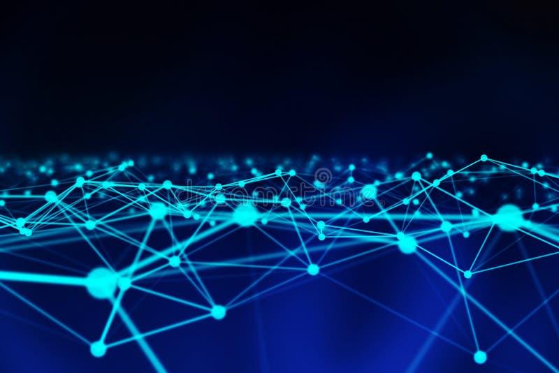 Linee e sfere di dati di Digital e del triangolo della connessione di rete nel concetto futuristico di tecnologia su fondo blu, e illustrazione vettoriale
