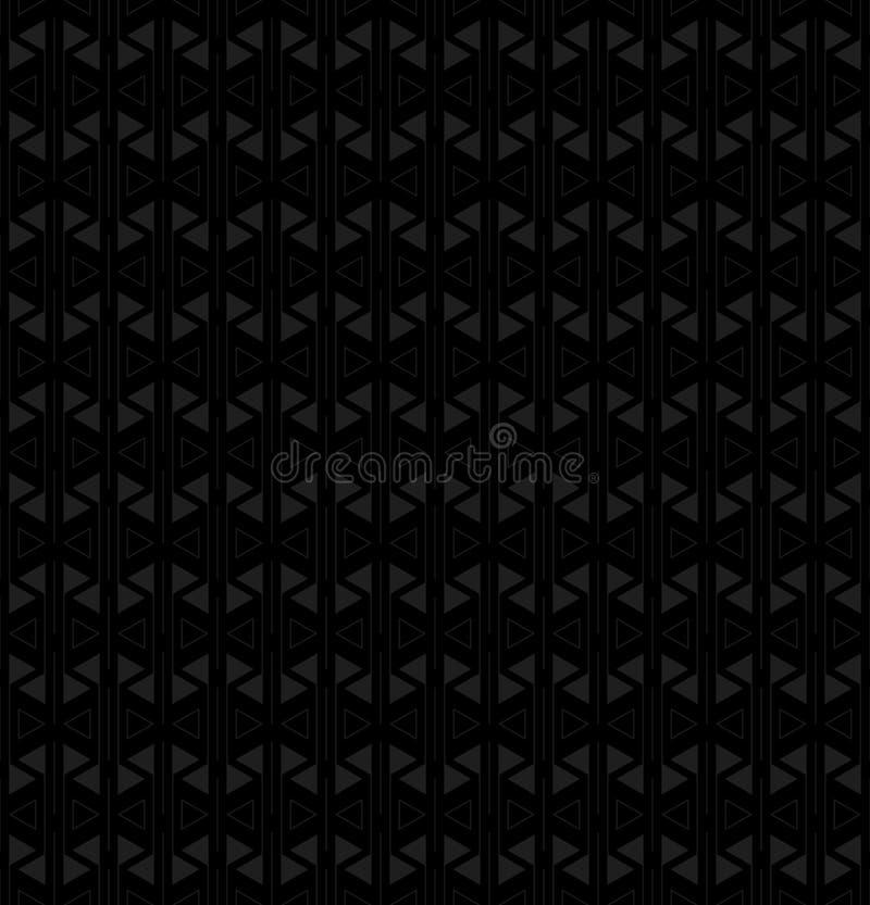 Linee e triangoli grigi sul nero forme del triangolo e della linea Vector il reticolo senza giunte fondo ripetitivo scuro semplic illustrazione di stock