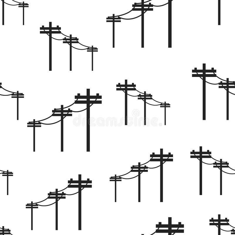 Linee elettriche ad alta tensione fondo senza cuciture del modello Affare f illustrazione vettoriale