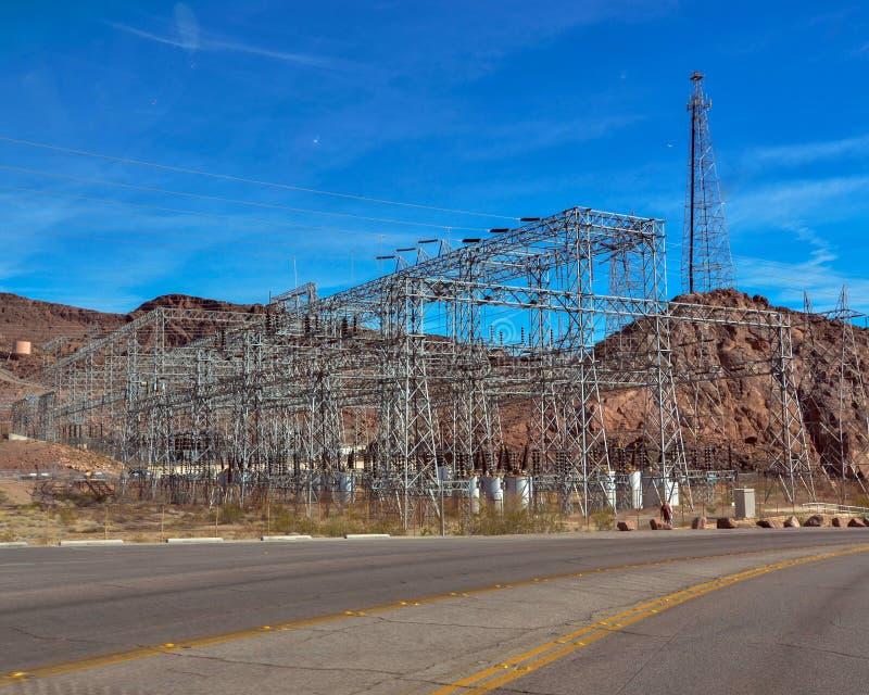 Linee elettriche in Nevada Hoover Dam immagine stock