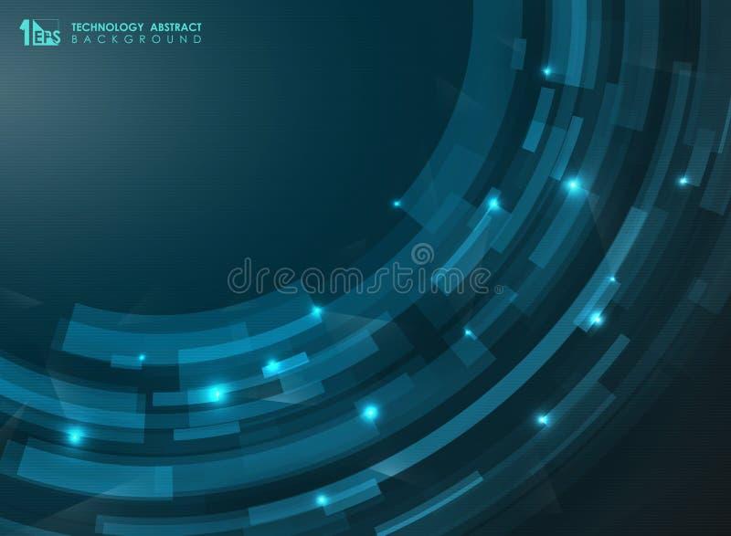 Linee futuristiche blu della curva della banda di pendenza dell'estratto Presentazione di tecnologia dell'arte Può usare per l'op illustrazione di stock