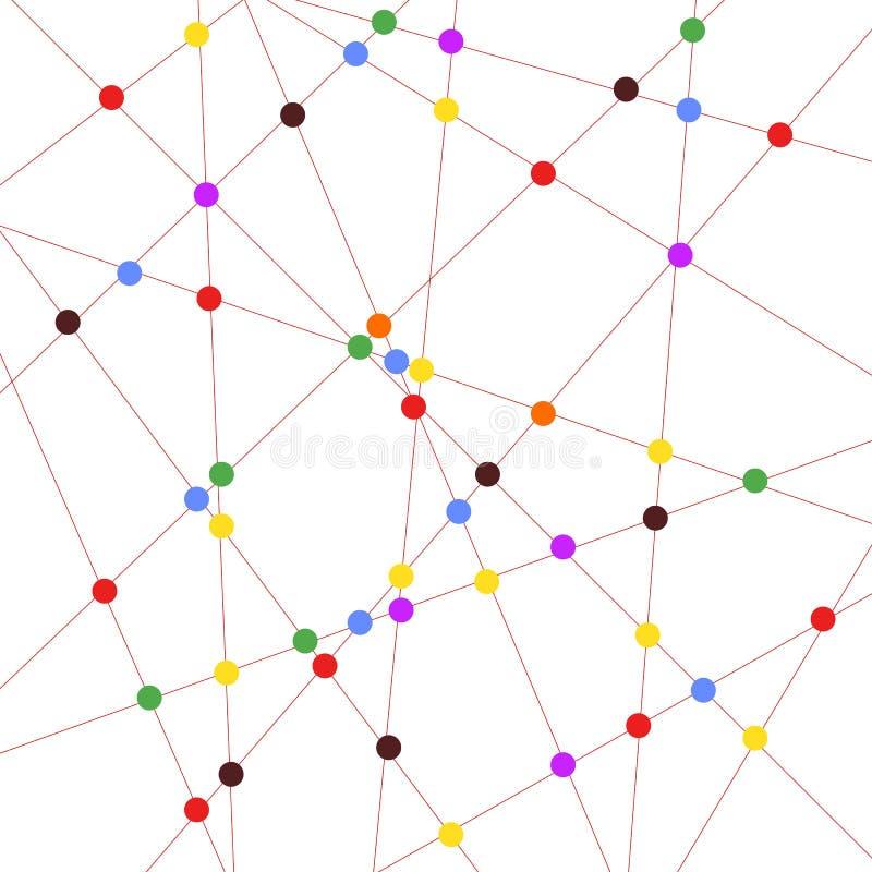 Linee geometriche astratte con i cerchi colorati illustrazione di stock