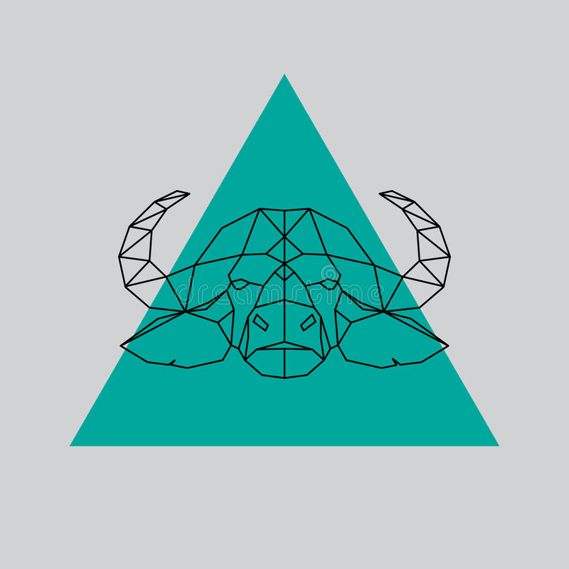 Linee geometriche cape siluetta della Buffalo royalty illustrazione gratis
