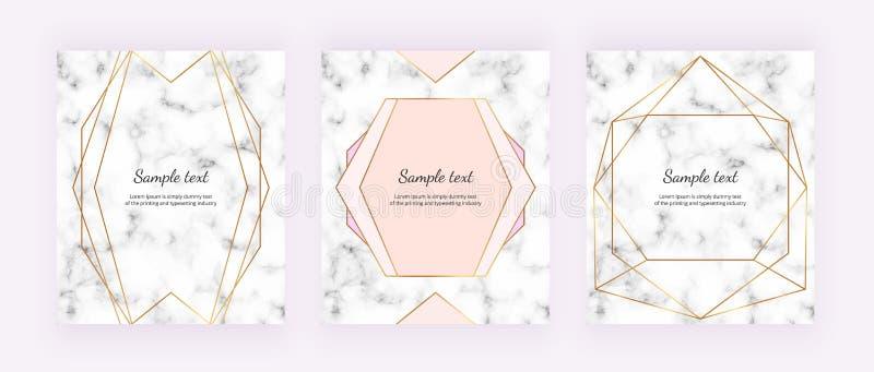 Linee geometriche dorate sulla struttura di marmo bianca Progettazione minimalista Fondo moderno per l'invito, carta, insegna, no illustrazione di stock