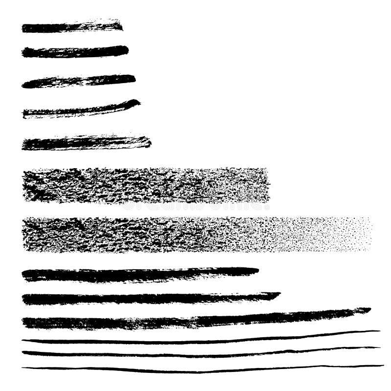 Linee grafiche disegnate a mano e colpi di lerciume d'avanguardia Elementi strutturati di rettangolo misero Forme editabili isola illustrazione vettoriale
