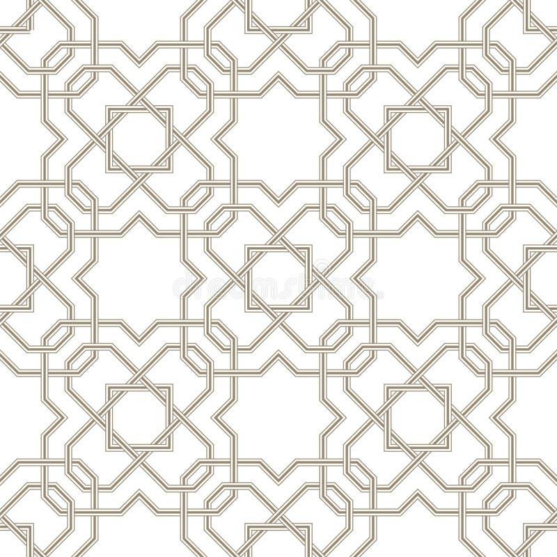 Linee grige del motivo a stelle di Pattern_01Islamic con fondo bianco illustrazione vettoriale