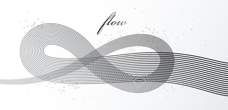 Linee grige eleganti fondo astratto dimensionale di vettore, bande dinamiche della curva 3D nel bello elemento di progettazione d illustrazione di stock