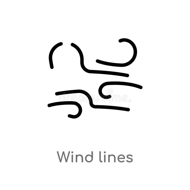 linee icona del vento del profilo di vettore linea semplice nera isolata illustrazione dell'elemento dal concetto del tempo vento illustrazione vettoriale