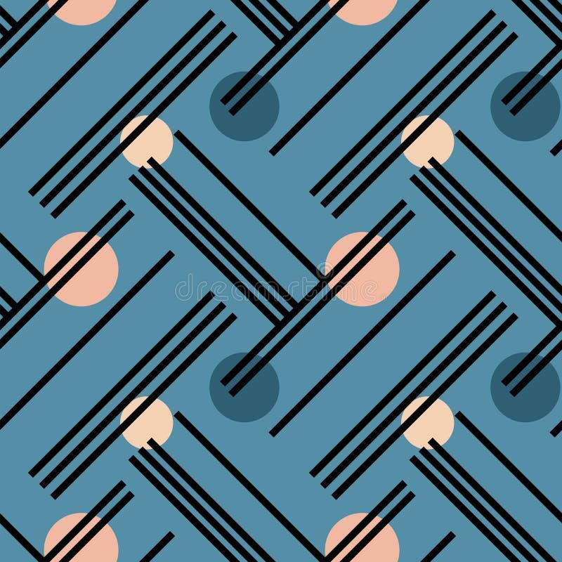 Linee irregolari e modello senza cuciture diagonale dei cerchi illustrazione di stock