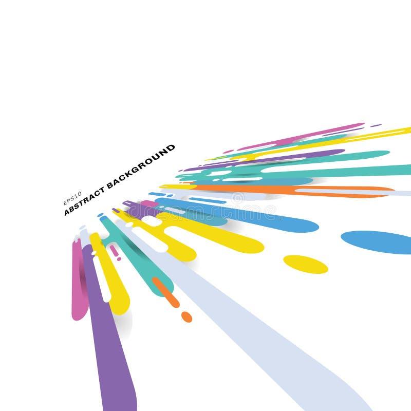 Linee multicolori fondo di forme arrotondate dell'estratto di prospettiva di transizione con lo spazio della copia Pop art lumino illustrazione vettoriale