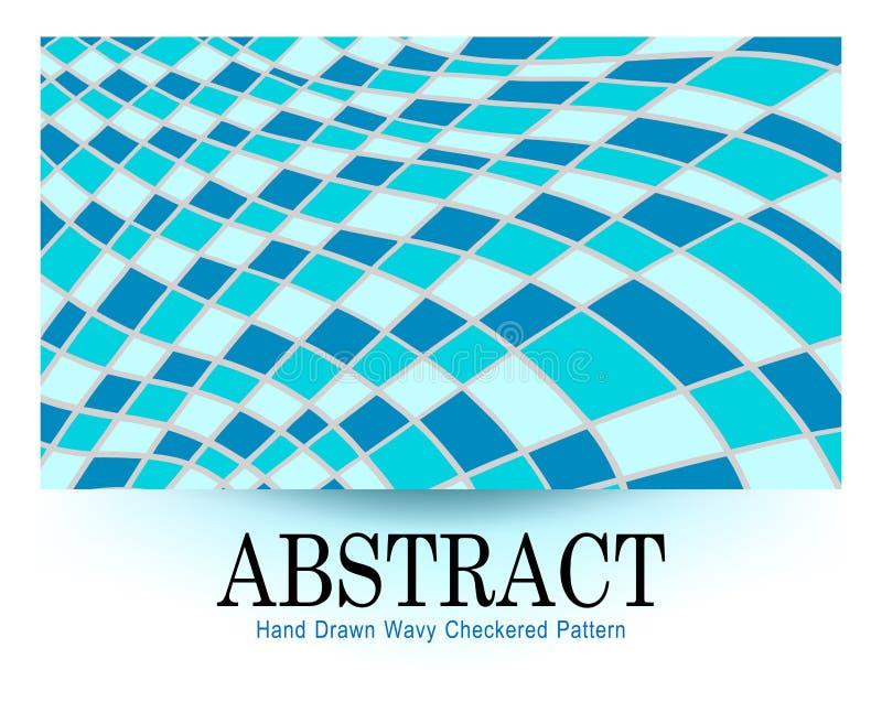 Linee o vettore a quadretti blu ondulate di progettazione del fondo della bandiera illustrazione vettoriale