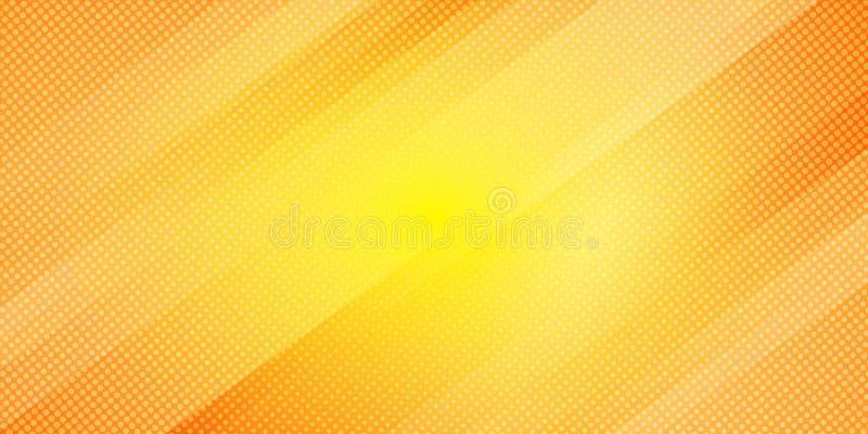 Linee oblique astratte fondo di colore giallo ed arancio di pendenza delle bande e stile di semitono di struttura dei punti Minim illustrazione vettoriale