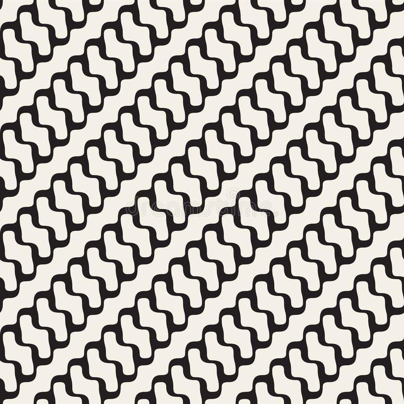 Linee ondulate arrotondate diagonale in bianco e nero senza cuciture modello di vettore illustrazione di stock