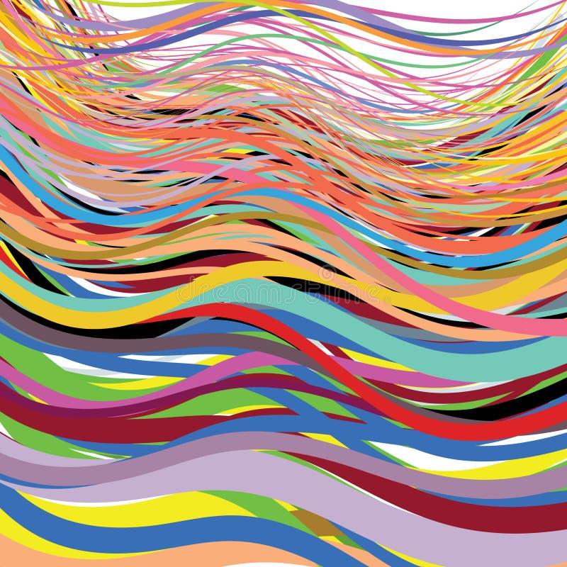 Linee ondulate intrecciare, moltiplicato, torcente, nei colori vivi illustrazione vettoriale