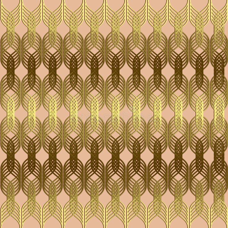 Linee ondulate intrecciate modello senza cuciture dell'oro Sommario geometrico di vettore illustrazione vettoriale