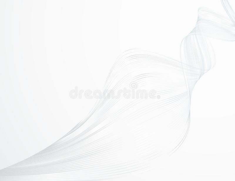Linee ondulate luminose dell'estratto su una progettazione futuristica dell'illustrazione di tecnologia del fondo della luce bian illustrazione vettoriale