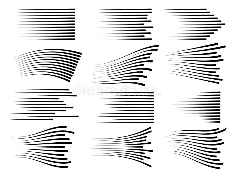 Linee orizzontali di moto di velocità Linea veloce simboli di vettore isolati illustrazione di stock