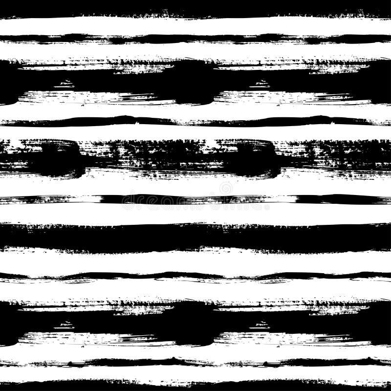 Linee orizzontali nere modello senza cuciture disegnato a mano Ornamento dell'inchiostro di vettore per carta da imballaggio royalty illustrazione gratis
