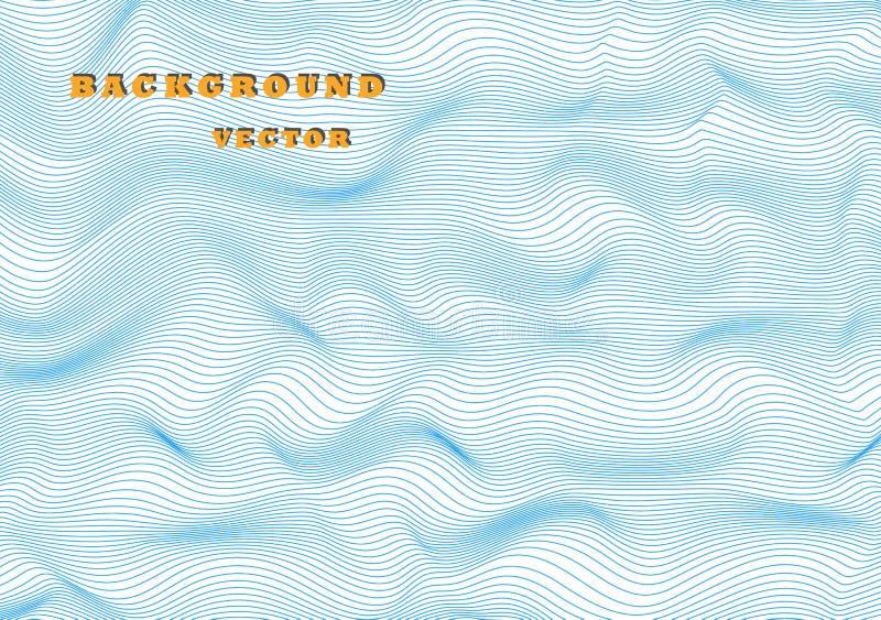 Linee orizzontali ondulate dell'estratto, bobina blu, onda di sollievo Modello dell'illustrazione di vettore con la capacità di r immagini stock libere da diritti