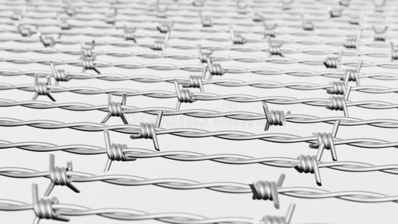 Linee parallele di filo spinato su bianco royalty illustrazione gratis