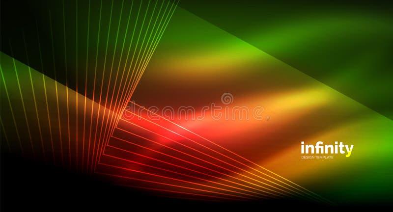 Linee rette brillanti su fondo scuro, modello moderno digitale techno royalty illustrazione gratis