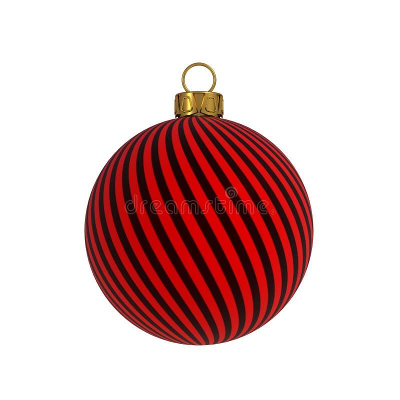 Linee rosse ricordo d'attaccatura dell'avvolgimento del nero della decorazione di notte di San Silvestro della palla di Natale de royalty illustrazione gratis
